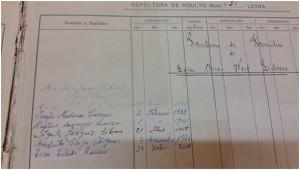 Detalle del libro de enterramientos del Ayuntamiento de Zalamea la Real. Agradecimiento a Rafael Pichardo Pulido.