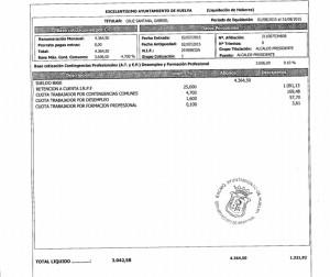 Nómina del alcalde de Huelva, Gabriel Cruz.