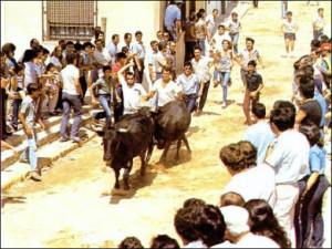 Los agricultores celebraban durante las fiesta el fin de las tareas agrícolas tras el verano. Las capeas fueron suspendidas entre 1959 y 1969./Foto: web Tierra de Pan.