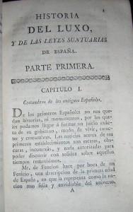 Ejemplar de 'Historia del Luxo y de las leyes suntuarias de España'.