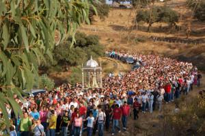 Bajada de la Virgen de la Peña a Puebla de Guzmán en 2008.