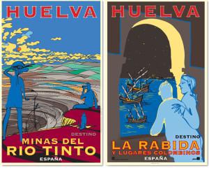 Los carteles recorren los lugares más atractivos de Huelva.