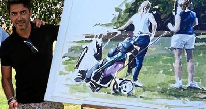 Juan Galán, creador ayamontino que imprime en sus lienzos la esencia del golf