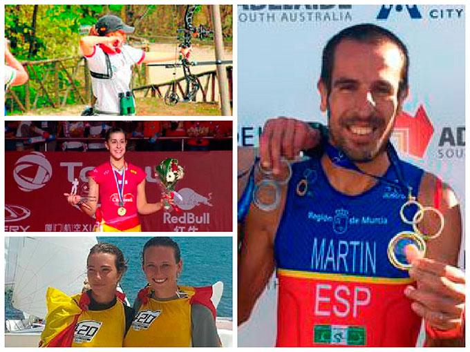 Los cuatro campeones del mundo de Huelva a nivel individual, premiados por los Periodistas Deportivos Onubenses.