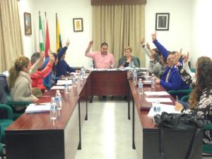 Votación del pleno del Ayuntamiento de Jabugo.