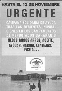Cartel de la campaña de ayuda al pueblo saharaui.