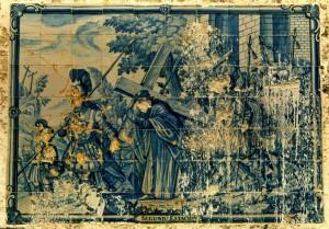 Uno de los azulejos de la Huerta Noble, realizado por el holandés Jan Aalmis y que ha sido restaurado en el Museo de Huelva. / Foto: Fermín Cabanillas.