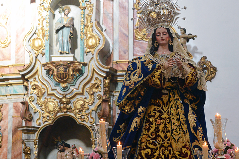 La imagen de la Purísima Concepción en la Catedral en el rosario del pasado mes de abril