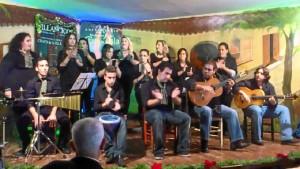 El grupo `Aires de Jerez´ lleva la zambomba a Nerva.