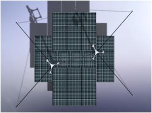 Vista cenital de Aurora con los aerogeneradores y paneles fotovoltaicos desplegados.