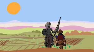 Ilustración de Don Quijote y Sancho Panza.