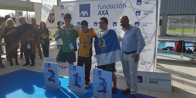 El joven David Sánchez Sierra, en el podio.
