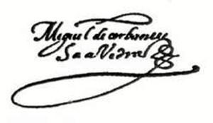 Firma de Cervantes.