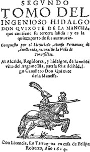 Portada de 'El Quijote' de Avellaneda.