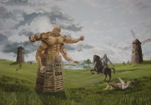 Don Quijote luchando contra los molinos de viento.