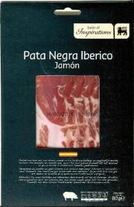 "Ejemplo de estuche de falso jamón ""pata negra"" vendido en Bélgica por la firma Delhaize."