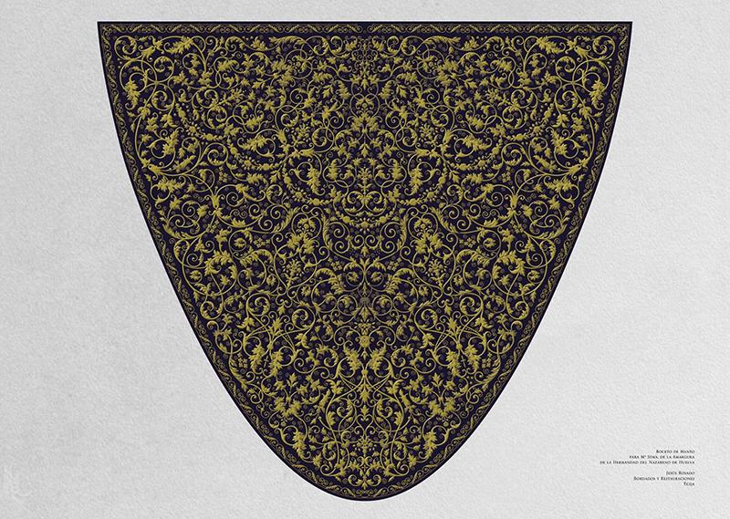Diseño del nuevo manto bordado para María Santísima de la Amargura