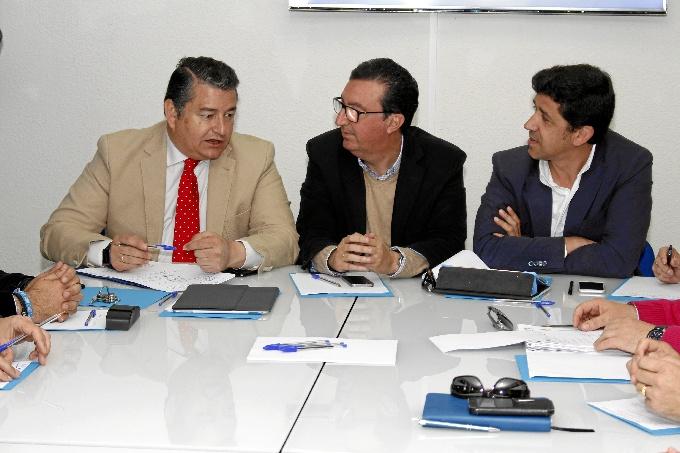 Momento de la reunión de Sanz con el Comité de Alcaldes del PP de Huelva. / Foto: José Rodríguez.