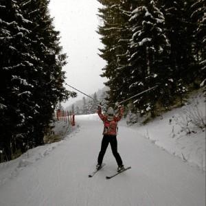 Esquiando en Los Alpes.