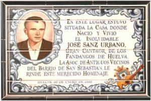 Cerámica o azulejo, en la calle San Sebastián, en honor del gran cantaor Pepe Sanz.