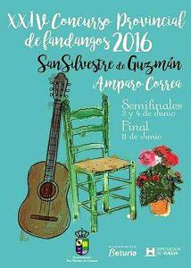 Cartel del XXIV Concurso Provincial de Fandangos 'Amparo Correa' de San Silvestre de Guzmán.