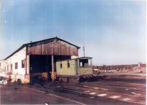 """Cochera de locomotoras """"Ruston"""", en Corrales. Destruida hacia 1990."""