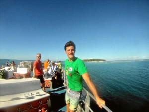 Durante una de sus excursiones a Green Island, y la barrera de coral.