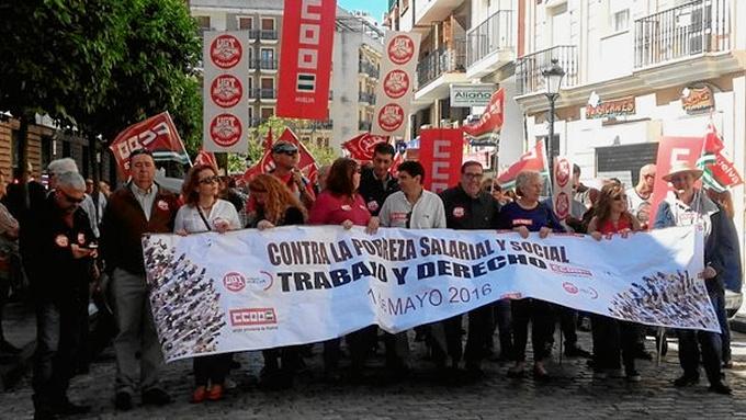 Manifestación celebrada en Huelva con motivo del 1 de mayo.