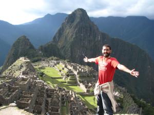 Rubén, en el Machu Pichu durante su primera vuelta al mundo.