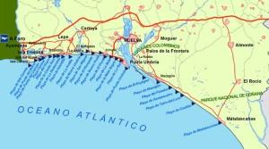 Mapa de la línea litoral de Huelva. / Foto: www.zonu.com.