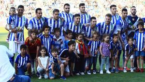 El último once del Recre en esta temporada, ante el Betis en el amistoso de homenaje a la afición. / Foto: Josele Ruiz.