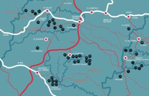 Mapa de la situación en la que aparecieron estas representaciones gráficas. / Foto: Catálogo exposición 'El Megalitismo en Huelva'.