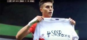 José Naranjo, con la camiseta de apoyo al Recre. / Foto: youtube.