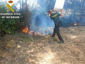 Hasta la llegada de los bomberos los agentes evitaron que el fuego se propagara a una vivienda próxima.