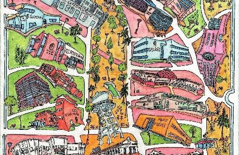 Un mapa ilustrado del Campus de El Carmen realizado por Andrés Espuelas se entregará durante la apertura del aulario 'José Isidoro Morales'