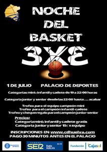 Cartel del torneo de baloncesto del día 1 de julio en el Palacio de Deportes.
