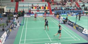 Un lance del partido de dobles femeninos con el que el cuadro de Huelva cerró el partido a su favor.