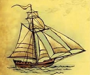 "Barco cosario ""Cuter de Velacho"", similar a la balandra inglesa."
