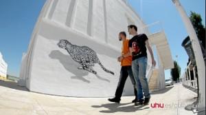 Una de las obras expuestas en el Campus del Carmen.