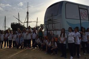 El autobús rotulado con la imagen del 525 aniversario será utilizado por el equipos en sus desplazamientos.