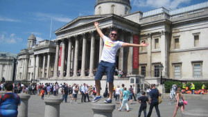 Txema en Trafalgar Square durante su primer día en Londres.