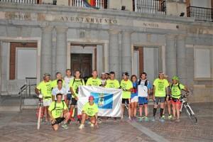 El equipo, a su llegada al Ayuntamiento de Huelva.