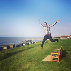 En la playa de Canterbury.