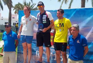 Imagen ya habitual esta temporada: Rubén Gutiérrez, en el podio.