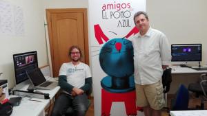 Luis, junto a su compañero Fernando Rojo, en la producción de la película.