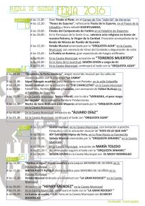 Programación para los días de feria, el 13, 14, 15 y 16 de este mes.