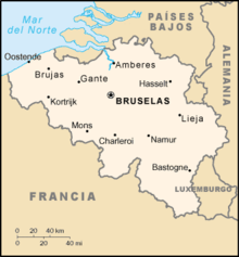Localización de Bégica en Europa, junto a sus principales ciudades.