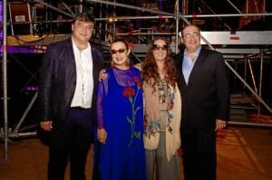 De izquierda a derecha: alcalde de Huelva, Gabriel Cruz; Martirio; Dulce Pontes; y alcalde Faro, Rogério Bacalhau.