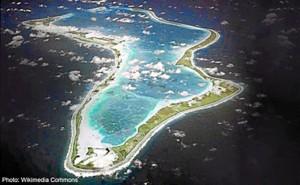 Imagen aérea de la isla llamada como el moguereño Diego García. / Foto: emirates247.com