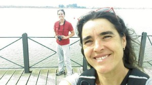 Un momento de su visita a Huelva capital.